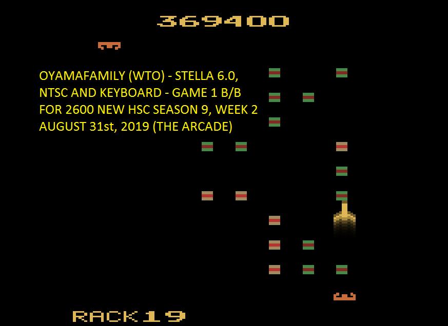 oyamafamily: Solar Fox (Atari 2600 Emulated Novice/B Mode) 369,400 points on 2019-09-01 09:40:30