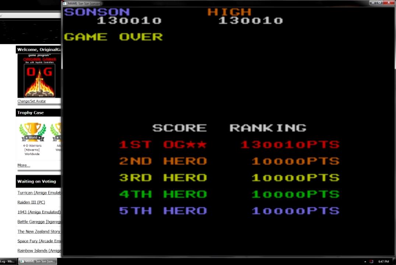OriginalGamer: SonSon [sonson] (Arcade Emulated / M.A.M.E.) 130,010 points on 2015-07-21 23:25:18