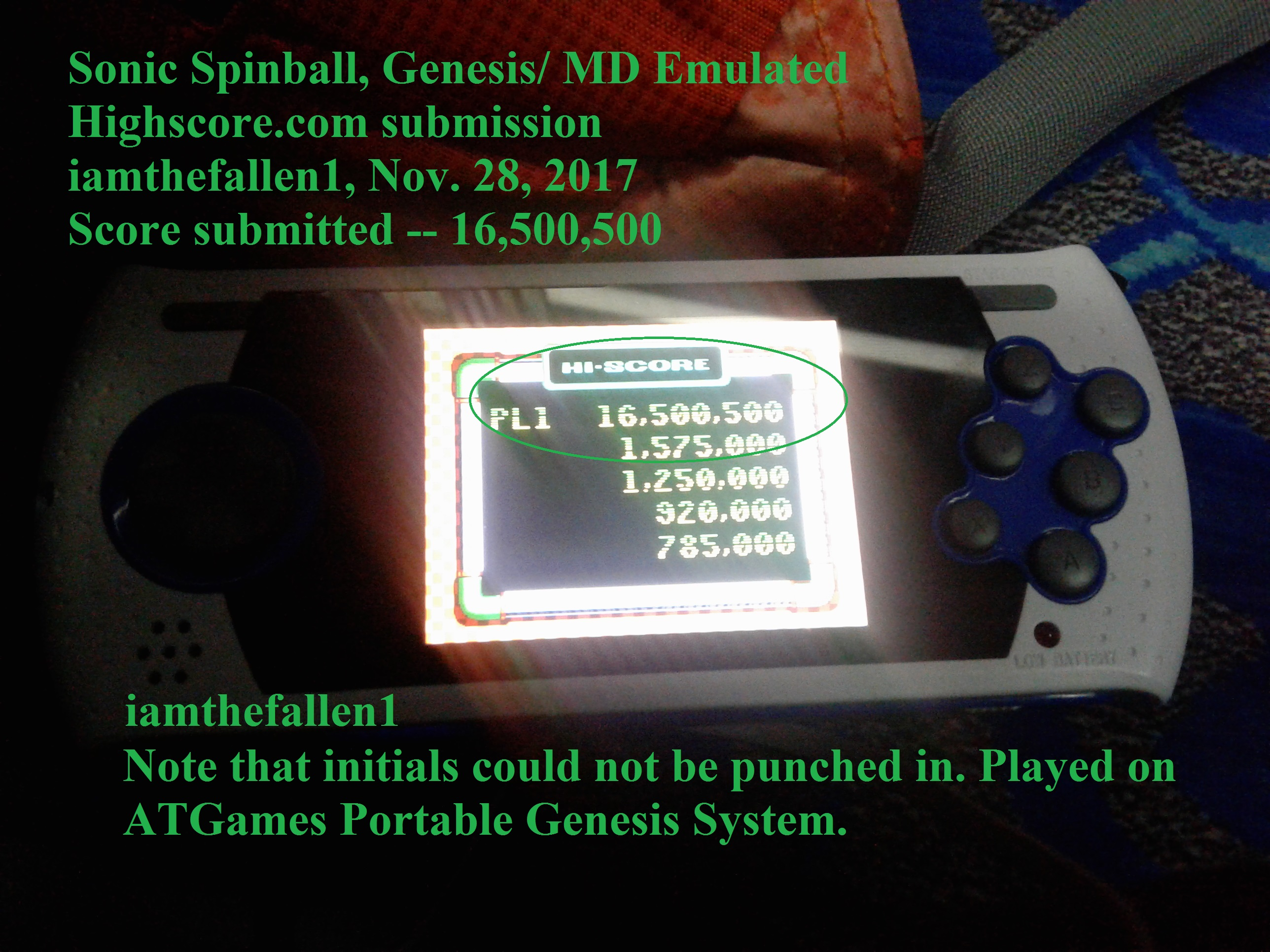 iamthefallen1: Sonic Spinball (Sega Genesis / MegaDrive Emulated) 16,500,500 points on 2017-11-28 19:21:00