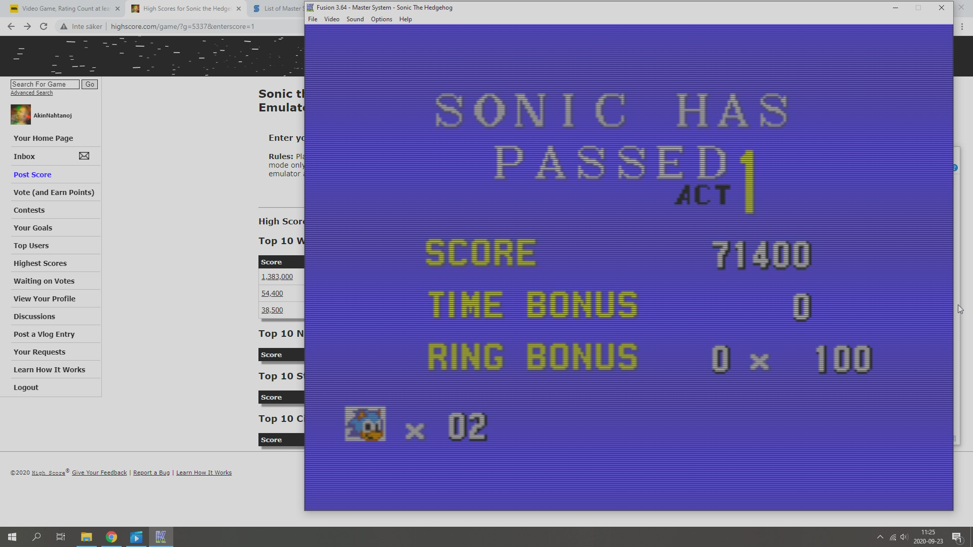 Sonic the Hedgehog 71,400 points