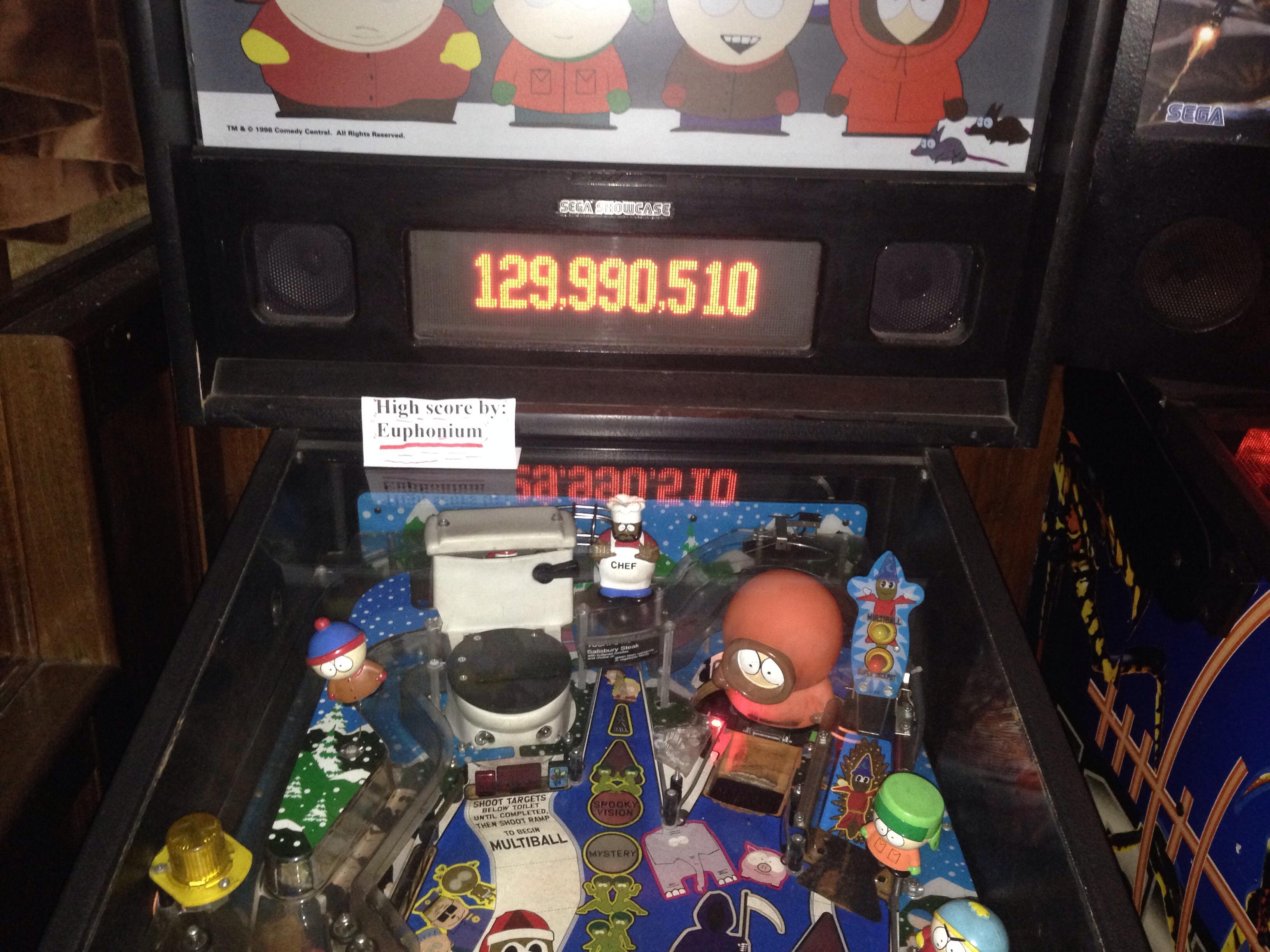 euphonium: South Park (Pinball: 3 Balls) 129,990,510 points on 2016-05-27 01:54:46