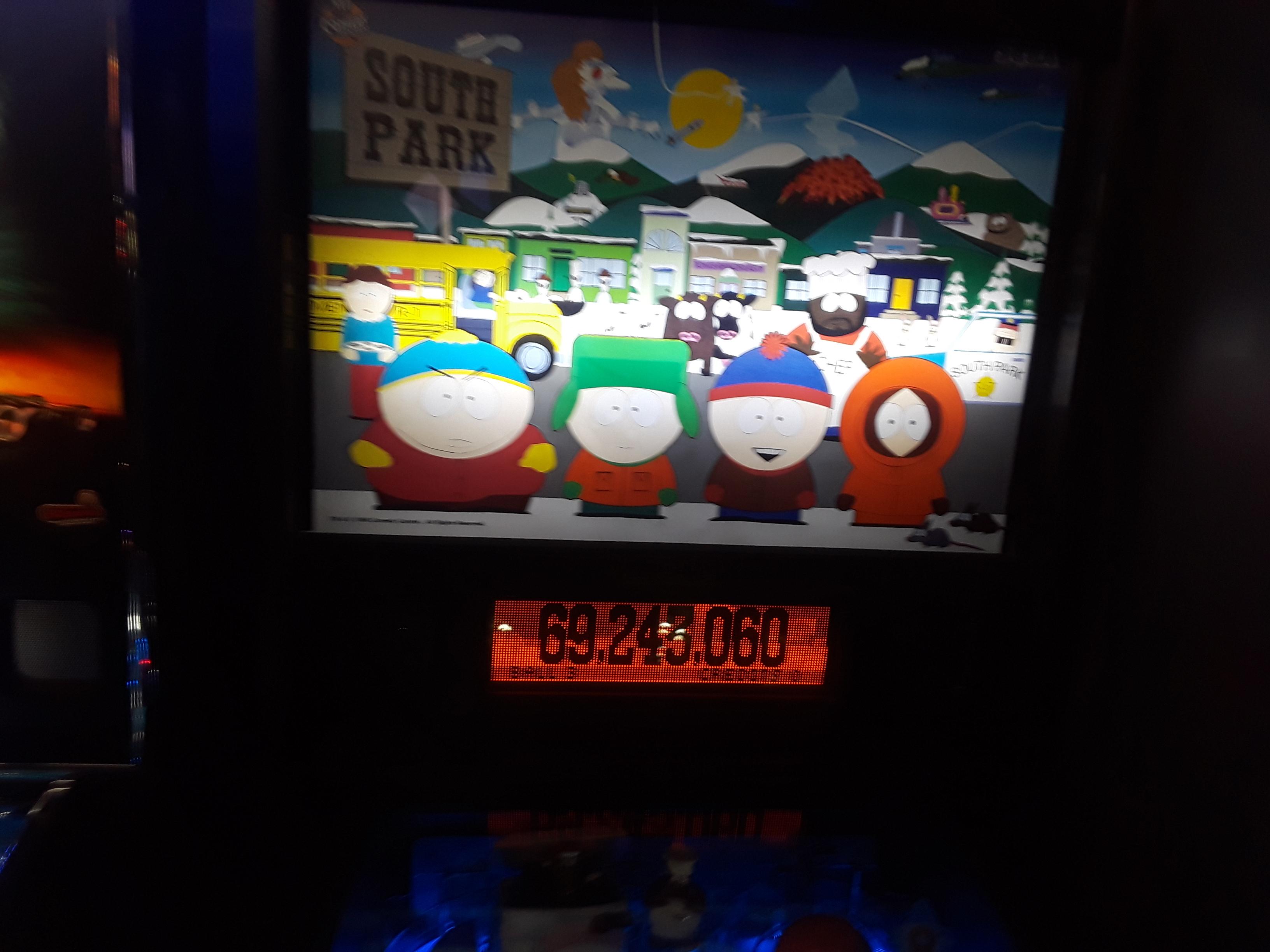 JML101582: South Park (Pinball: 3 Balls) 69,243,060 points on 2019-02-16 04:18:02