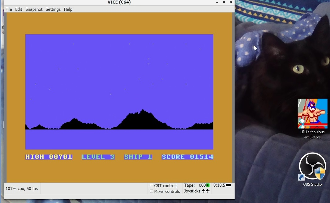 LuigiRuffolo: Space Action (Commodore 64 Emulated) 1,514 points on 2021-02-17 17:06:27