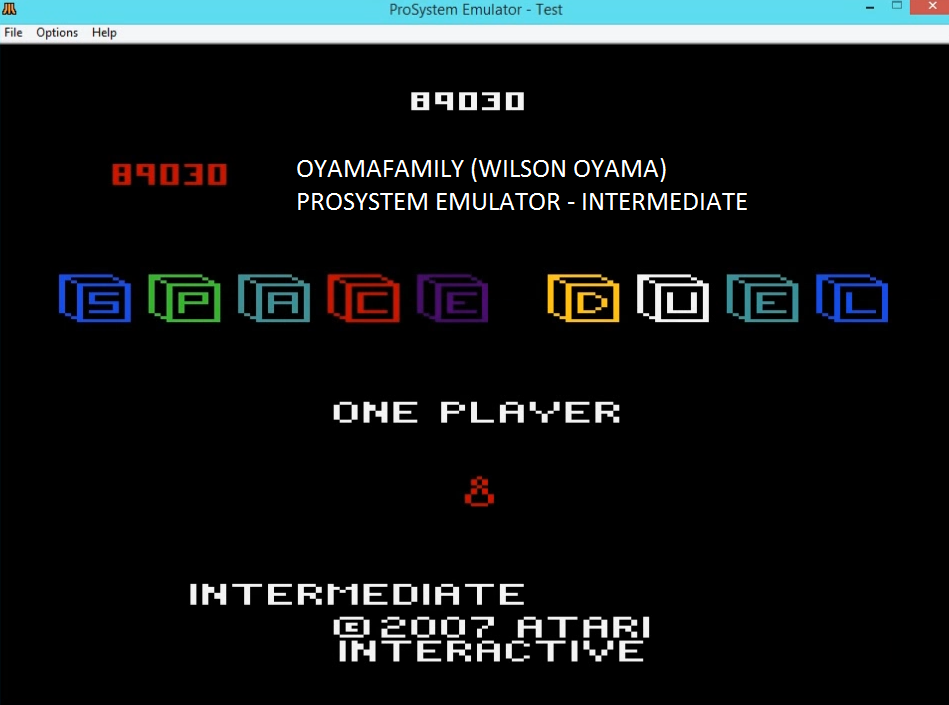 oyamafamily: Space Duel: 1P Intermediate (Atari 7800 Emulated) 89,030 points on 2016-02-24 18:30:06