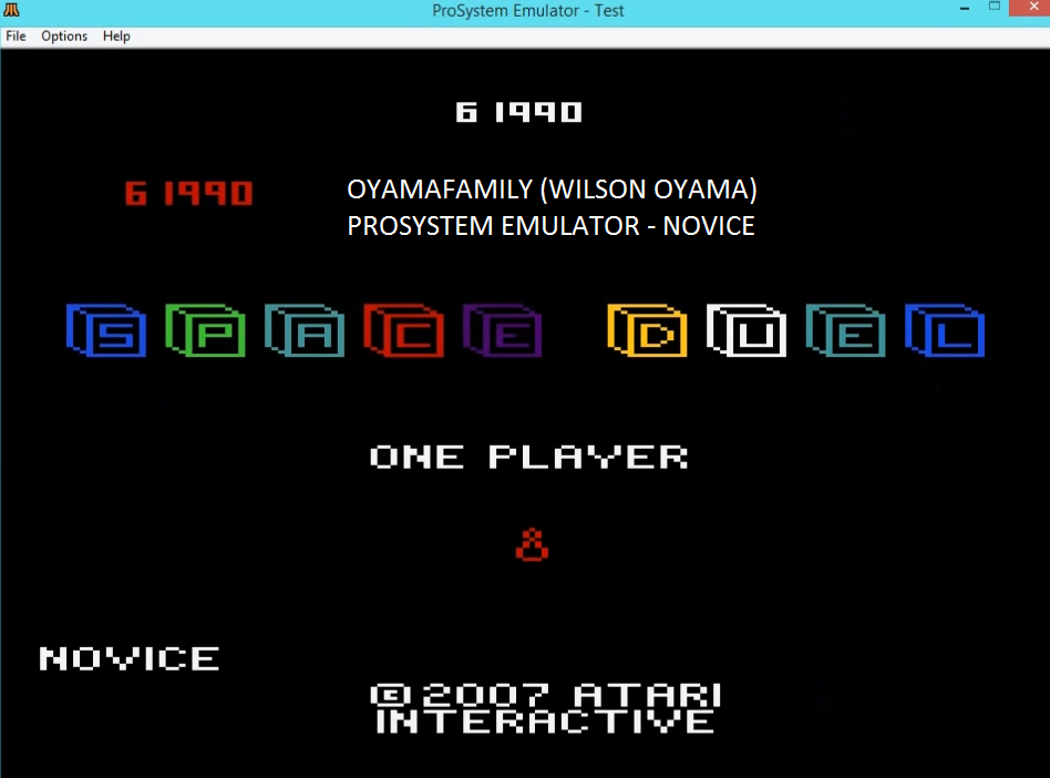 oyamafamily: Space Duel [1P Novice] (Atari 7800 Emulated) 61,990 points on 2016-02-24 18:32:20