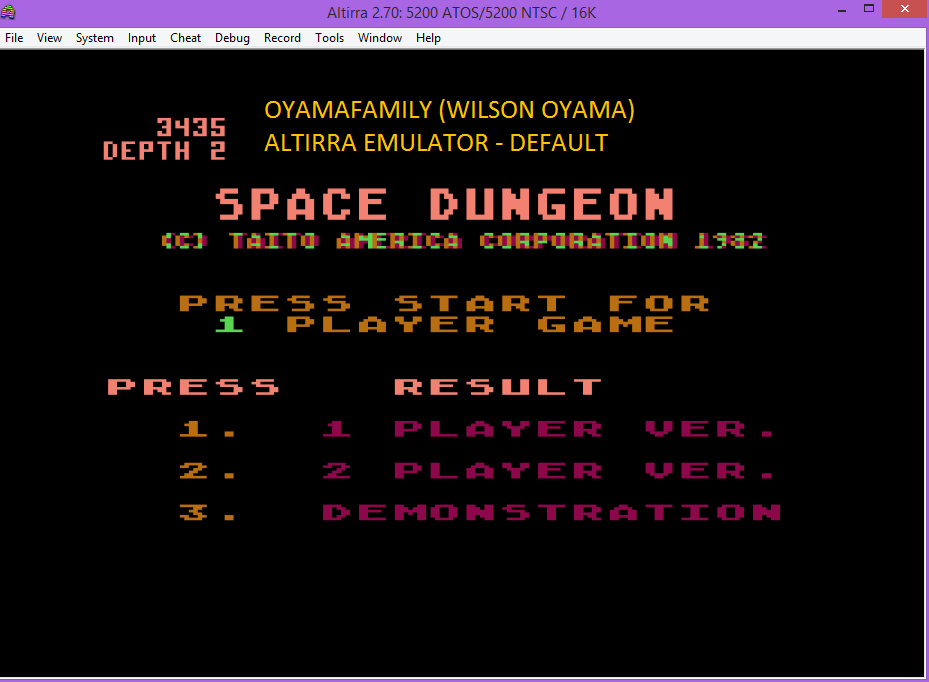 oyamafamily: Space Dungeon (Atari 5200 Emulated) 3,435 points on 2016-03-10 19:53:02