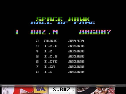 S.BAZ: Space Hawk (Atari 400/800/XL/XE Emulated) 6,807 points on 2016-05-20 01:17:07