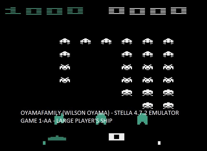 oyamafamily: Space Invaders Arcade (Atari 2600 Emulated Expert/A Mode) 1,000 points on 2016-08-07 06:31:08