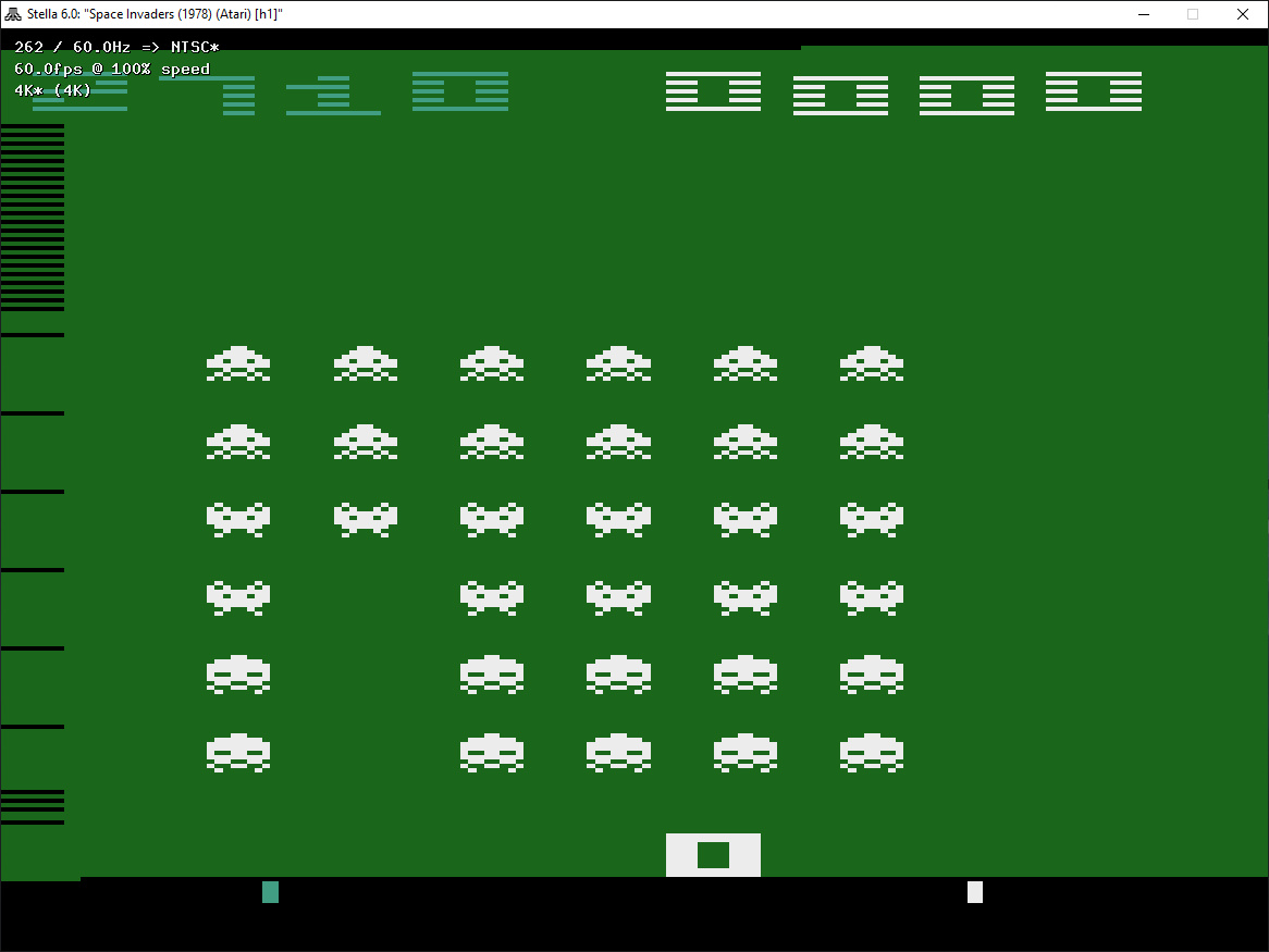 ZilchSr: Space Invaders Arcade (Atari 2600 Emulated Expert/A Mode) 12,710 points on 2019-05-17 00:02:22