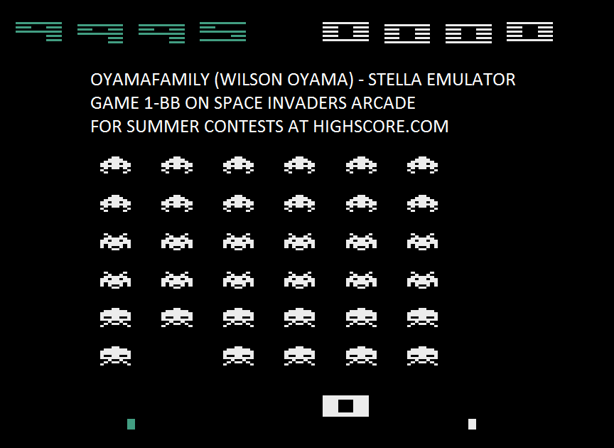 oyamafamily: Space Invaders Arcade (Atari 2600 Emulated Novice/B Mode) 9,995 points on 2016-08-07 06:27:29