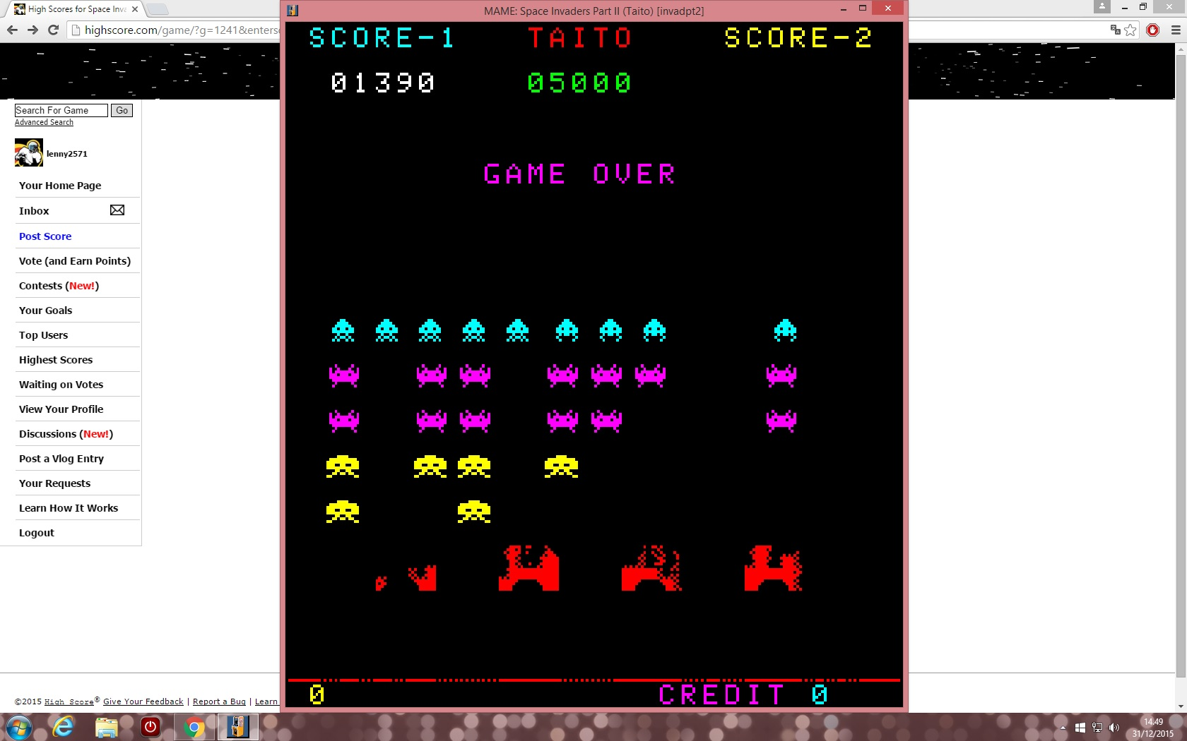 Space Invaders 1,390 points