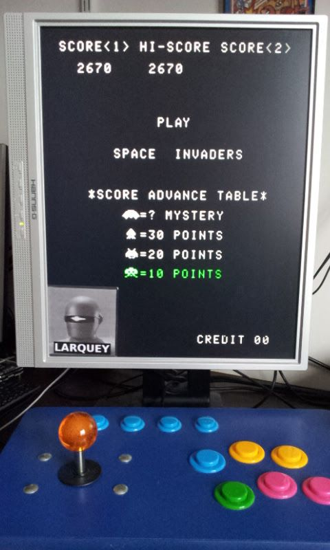 Larquey: Space Invaders (Arcade Emulated / M.A.M.E.) 2,670 points on 2017-10-21 09:10:25