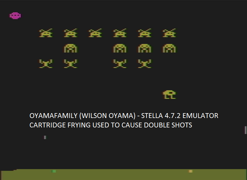 oyamafamily: Space Invaders [Cart-Fry: Double Shots] (Atari 2600 Emulated Expert/A Mode) 1,445 points on 2016-09-17 18:48:20