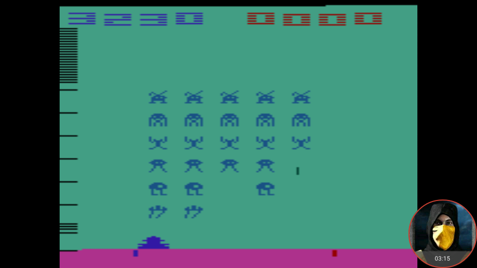 omargeddon: Space Invaders [Cart-Fry: Double Shots] (Atari 2600 Emulated Expert/A Mode) 3,230 points on 2018-01-22 15:42:38