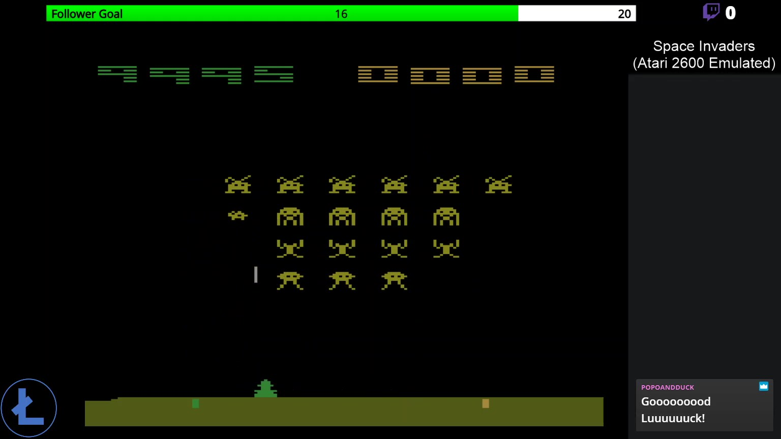 LonestarVideogames: Space Invaders [Cart-Fry: Double Shots] (Atari 2600 Emulated Novice/B Mode) 9,995 points on 2020-03-14 12:22:40