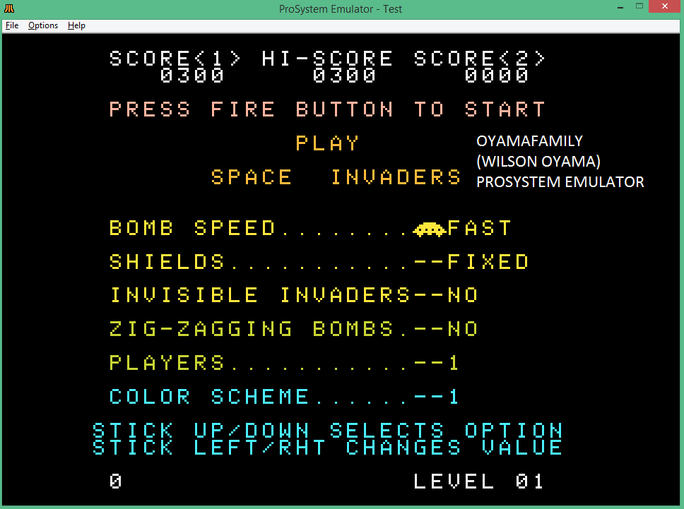 oyamafamily: Space Invaders [Fast/Fixed Shields] (Atari 7800 Emulated) 300 points on 2016-01-29 09:00:32
