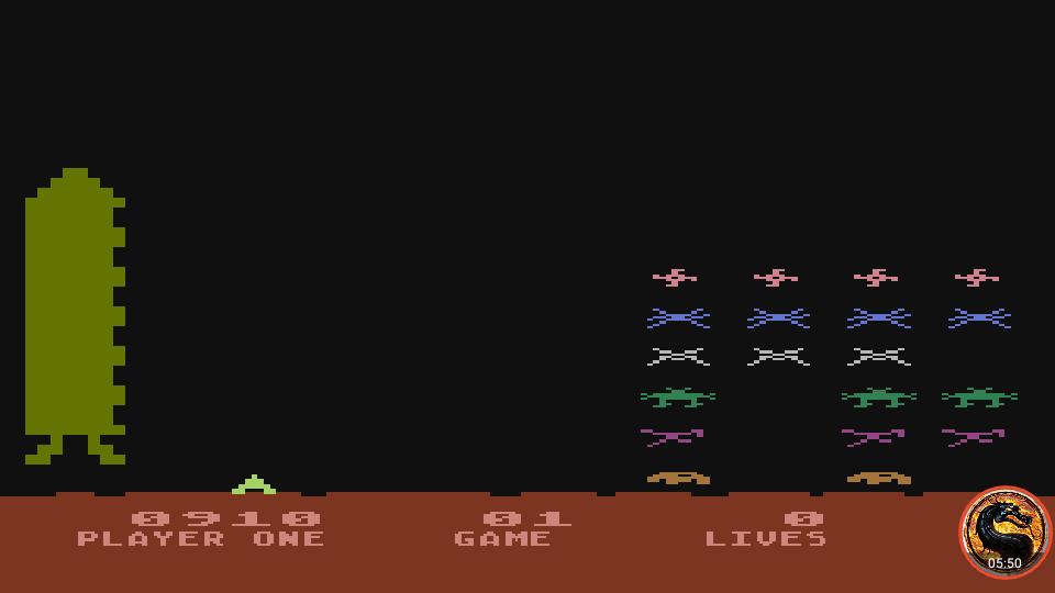 omargeddon: Space Invaders: Game 01 (Atari 400/800/XL/XE Emulated) 910 points on 2019-02-20 02:37:15