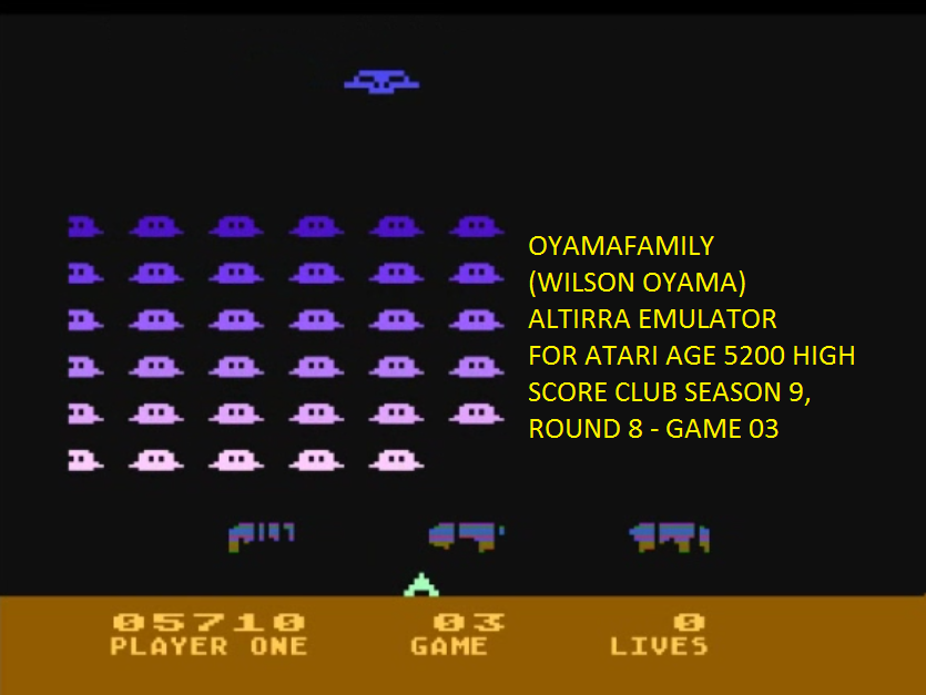 oyamafamily: Space Invaders: Game 03 (Atari 5200 Emulated) 5,710 points on 2016-06-14 20:11:03