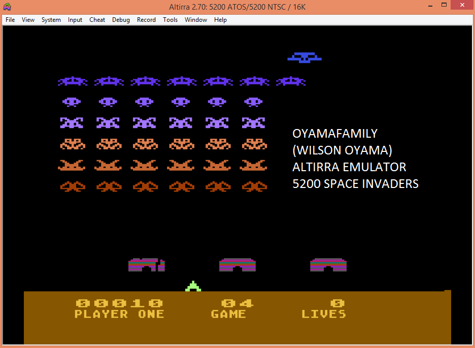 oyamafamily: Space Invaders: Game 04 (Atari 5200 Emulated) 10 points on 2017-04-21 12:30:21
