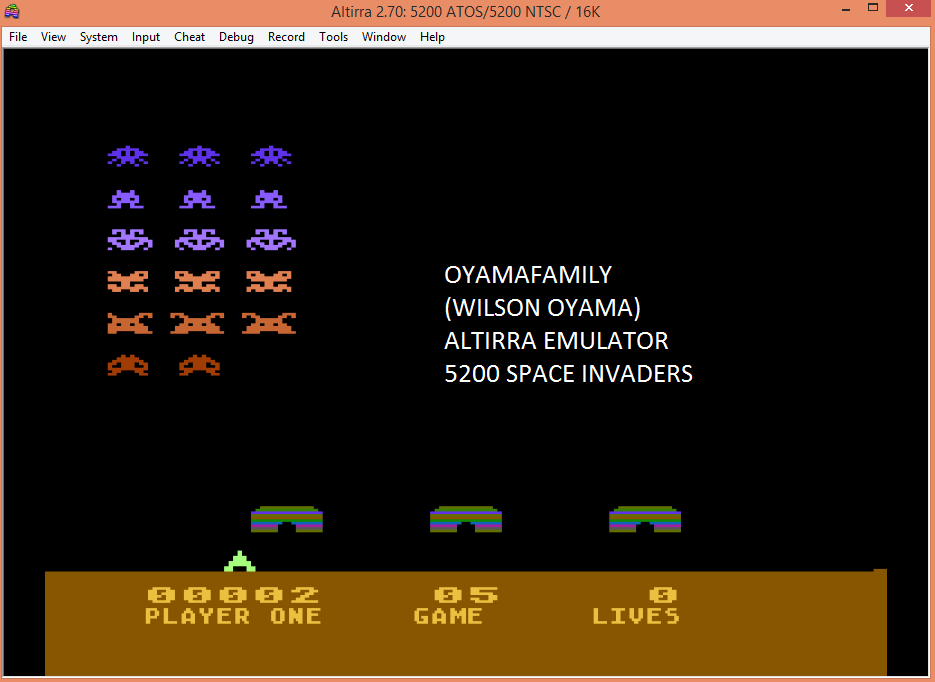 oyamafamily: Space Invaders: Game 05 (Atari 5200 Emulated) 2 points on 2017-04-21 12:30:55