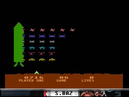 S.BAZ: Space Invaders: Game 06 (Atari 400/800/XL/XE Emulated) 716 points on 2016-04-12 22:54:15