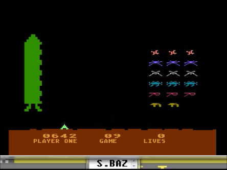S.BAZ: Space Invaders: Game 09 (Atari 400/800/XL/XE Emulated) 642 points on 2016-04-12 23:39:01
