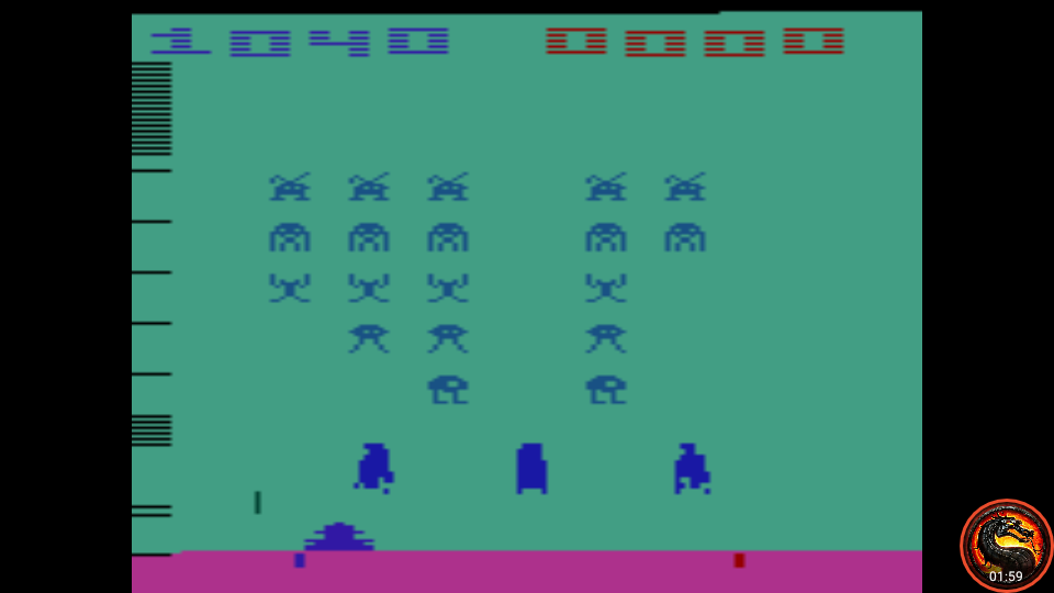 omargeddon: Space Invaders: Game 10 (Atari 2600 Emulated Expert/A Mode) 1,040 points on 2020-07-13 21:59:50