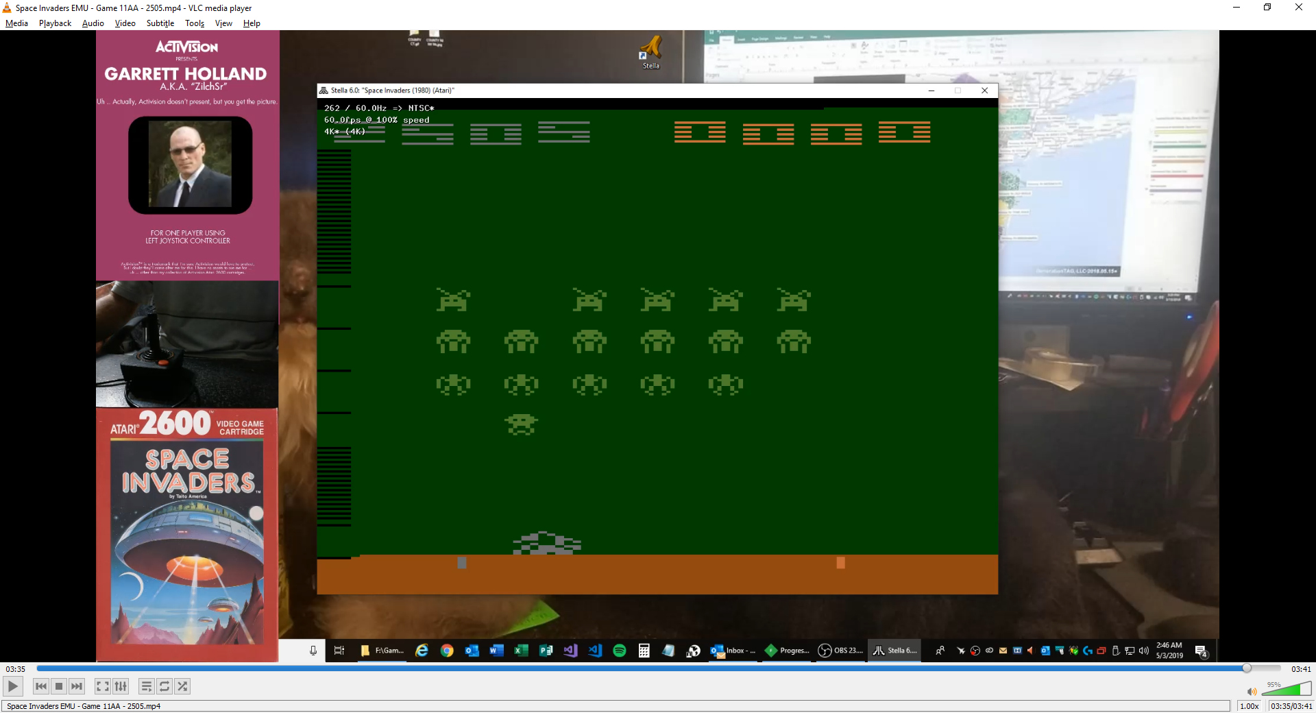 ZilchSr: Space Invaders: Game 11 (Atari 2600 Emulated Expert/A Mode) 2,505 points on 2019-05-03 01:50:24