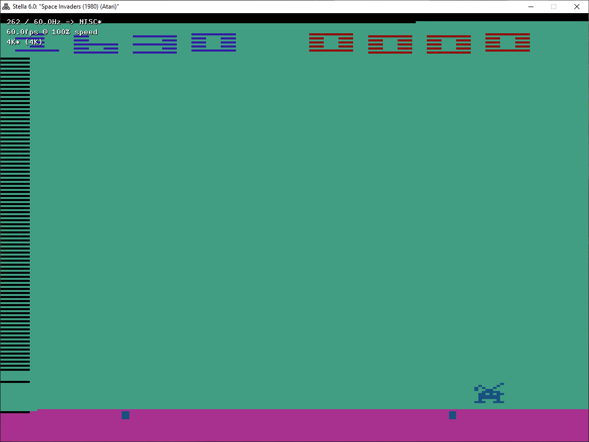 ZilchSr: Space Invaders: Game 12 (Atari 2600 Emulated Expert/A Mode) 1,630 points on 2019-05-03 01:55:59