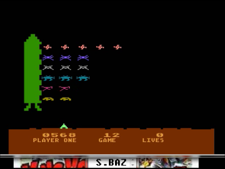 S.BAZ: Space Invaders: Game 12 (Atari 400/800/XL/XE Emulated) 568 points on 2016-04-12 23:45:40