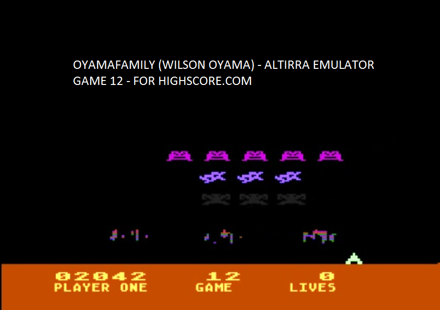 oyamafamily: Space Invaders: Game 12 (Atari 5200 Emulated) 2,042 points on 2016-04-03 11:28:01