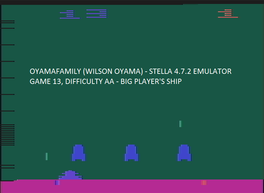 oyamafamily: Space Invaders: Game 13 (Atari 2600 Emulated Expert/A Mode) 110 points on 2016-07-30 15:06:46