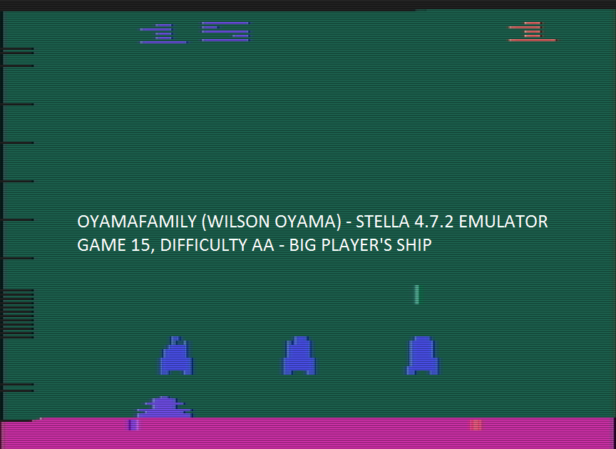 oyamafamily: Space Invaders: Game 15 (Atari 2600 Emulated Expert/A Mode) 105 points on 2016-07-30 15:00:26