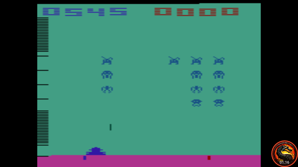omargeddon: Space Invaders: Game 15 (Atari 2600 Emulated Expert/A Mode) 545 points on 2020-07-13 22:09:25