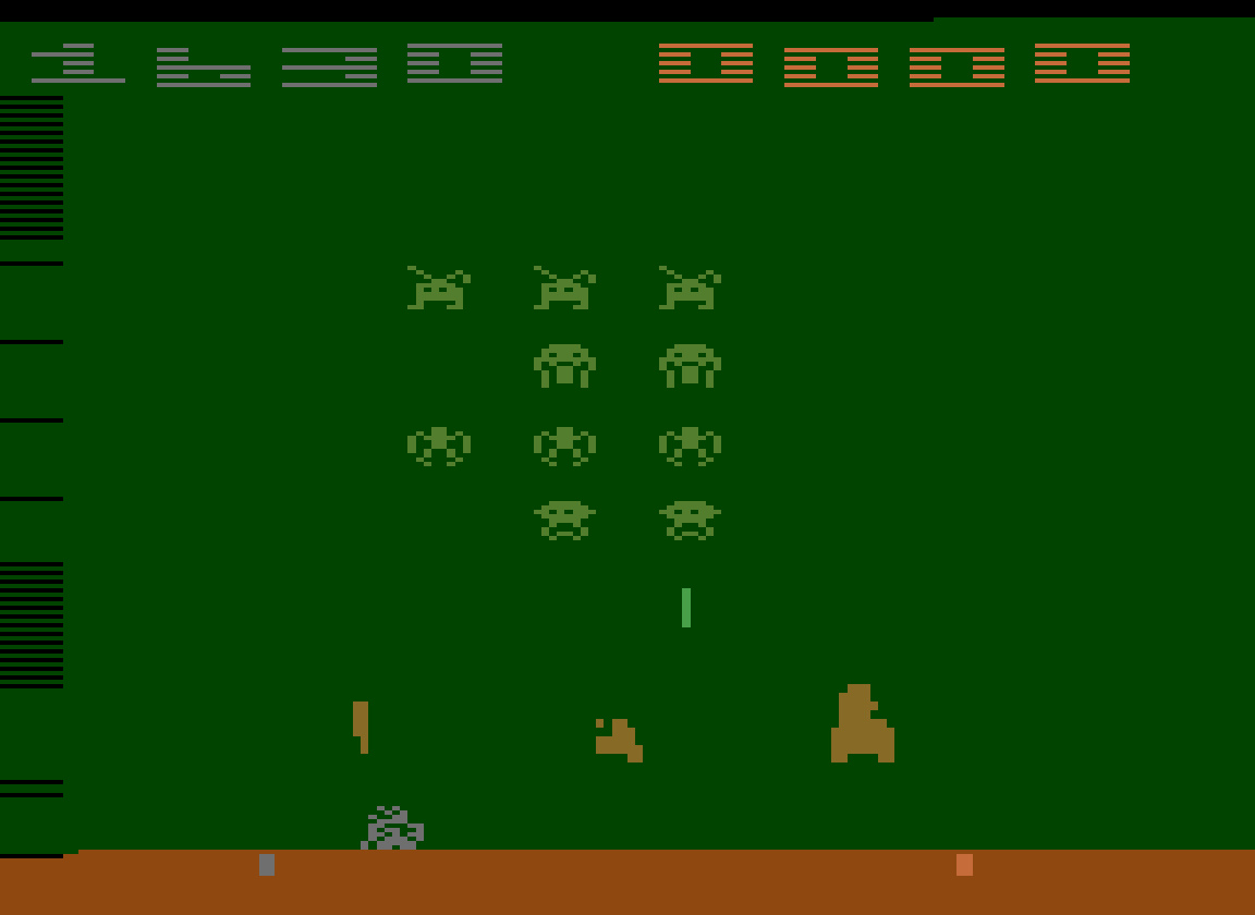 TheTrickster: Space Invaders: Game 15 (Atari 2600 Emulated Novice/B Mode) 1,630 points on 2016-07-30 04:44:45