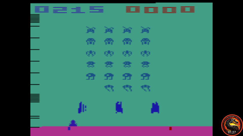 omargeddon: Space Invaders: Game 15 (Atari 2600 Emulated Novice/B Mode) 215 points on 2020-07-06 00:30:08