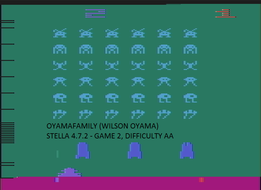oyamafamily: Space Invaders: Game 2 (Atari 2600 Emulated Expert/A Mode) 1,600 points on 2016-07-14 11:45:18