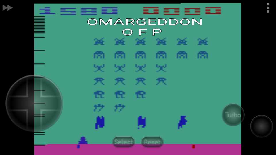 omargeddon: Space Invaders: Game 2 (Atari 2600 Emulated Novice/B Mode) 1,580 points on 2016-10-08 22:31:25
