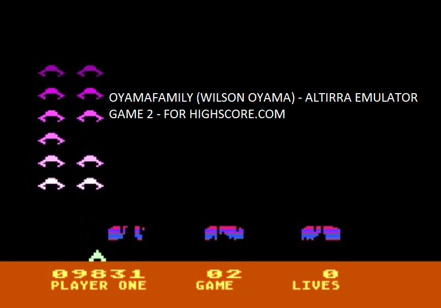 oyamafamily: Space Invaders: Game 02 (Atari 5200 Emulated) 9,831 points on 2016-04-03 11:26:59