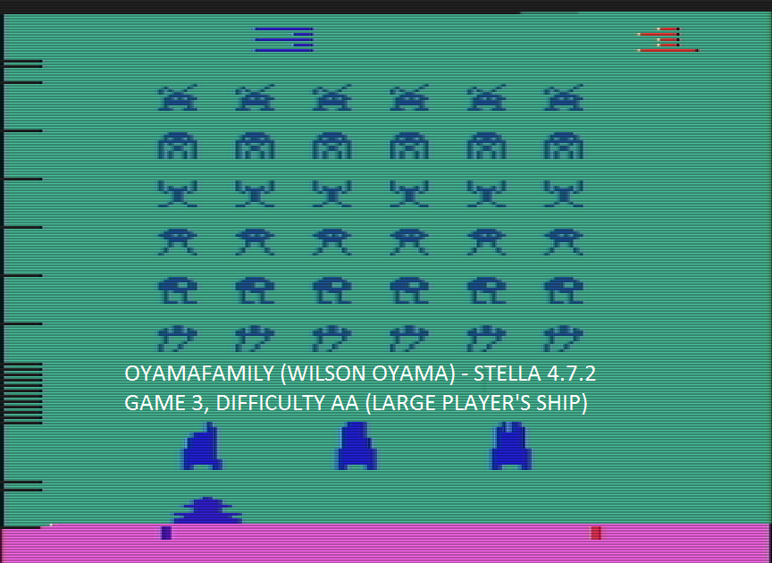oyamafamily: Space Invaders: Game 3 (Atari 2600 Emulated Expert/A Mode) 1,200 points on 2016-07-15 15:42:16
