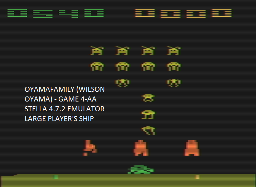 oyamafamily: Space Invaders: Game 4 (Atari 2600 Emulated Expert/A Mode) 540 points on 2016-07-16 07:57:06