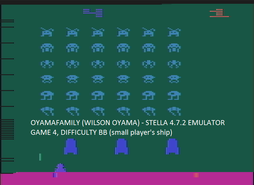 oyamafamily: Space Invaders: Game 4 (Atari 2600 Emulated Novice/B Mode) 5,200 points on 2016-07-23 16:03:06