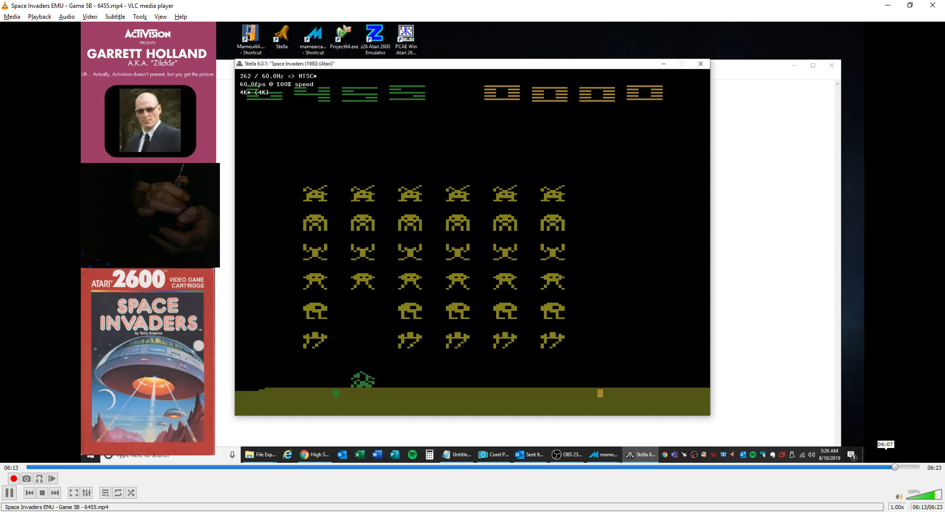 ZilchSr: Space Invaders: Game 5 (Atari 2600 Emulated Novice/B Mode) 6,455 points on 2019-08-10 02:33:53