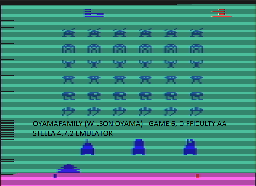 oyamafamily: Space Invaders: Game 6 (Atari 2600 Emulated Expert/A Mode) 1,485 points on 2016-07-14 11:26:31