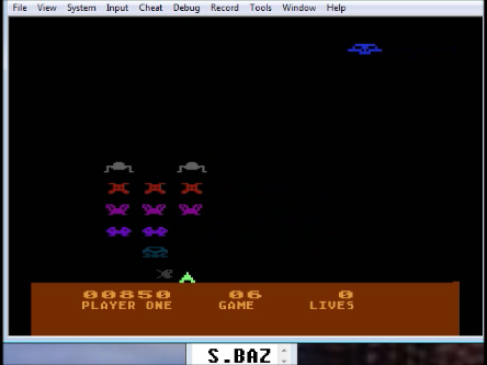 S.BAZ: Space Invaders: Game 06 (Atari 5200 Emulated) 850 points on 2016-03-20 00:47:46