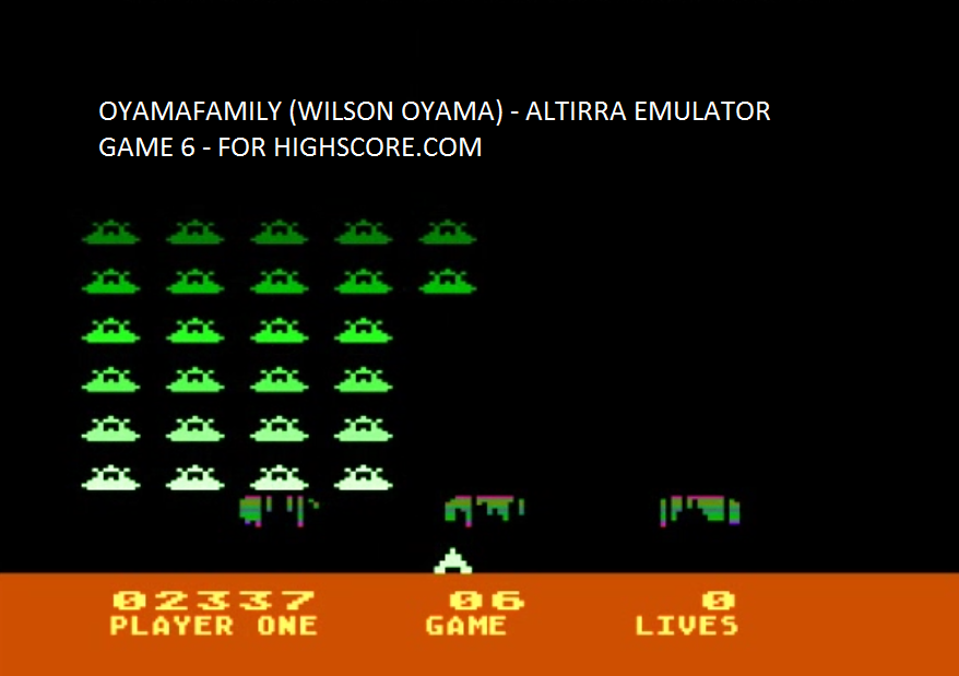 oyamafamily: Space Invaders: Game 06 (Atari 5200 Emulated) 2,337 points on 2016-04-03 11:27:28