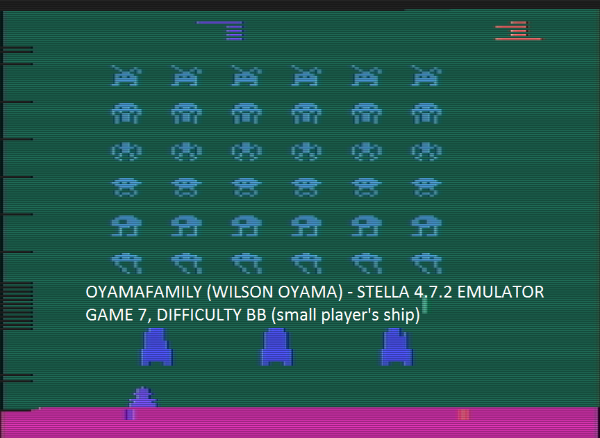 oyamafamily: Space Invaders: Game 7 (Atari 2600 Emulated Novice/B Mode) 2,465 points on 2016-07-23 15:55:23