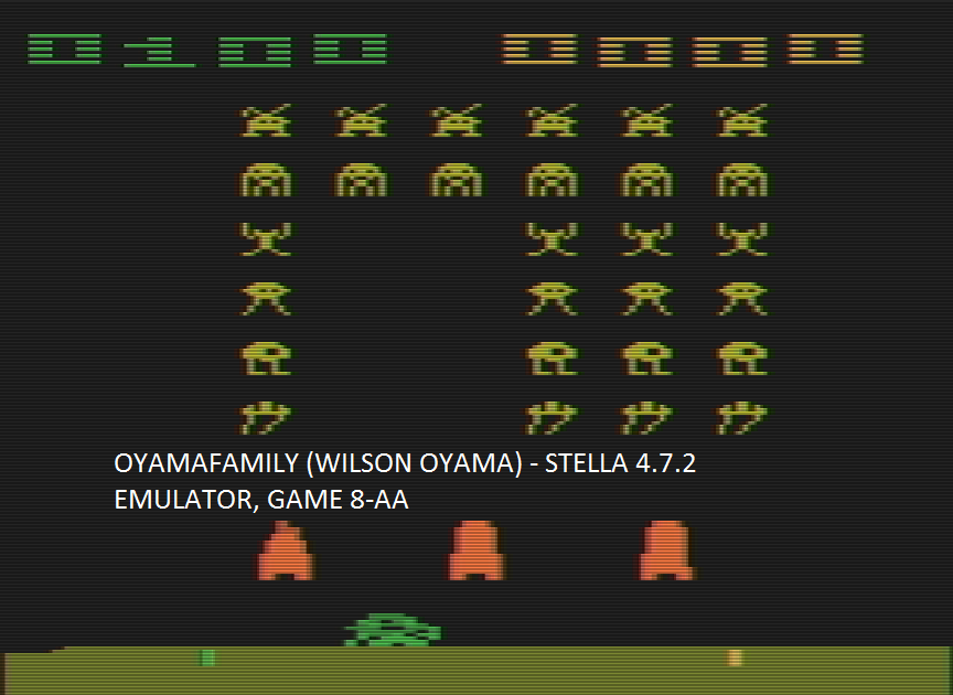 oyamafamily: Space Invaders: Game 8 (Atari 2600 Emulated Expert/A Mode) 100 points on 2016-07-15 18:44:04