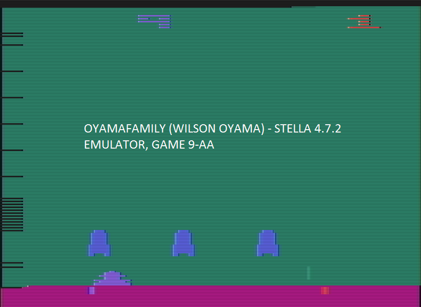 oyamafamily: Space Invaders: Game 9 (Atari 2600 Emulated Expert/A Mode) 1,005 points on 2016-07-15 18:43:33