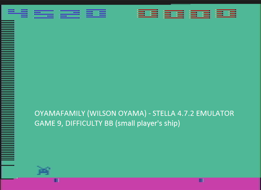 oyamafamily: Space Invaders: Game 9 (Atari 2600 Emulated Novice/B Mode) 4,520 points on 2016-07-23 15:50:29